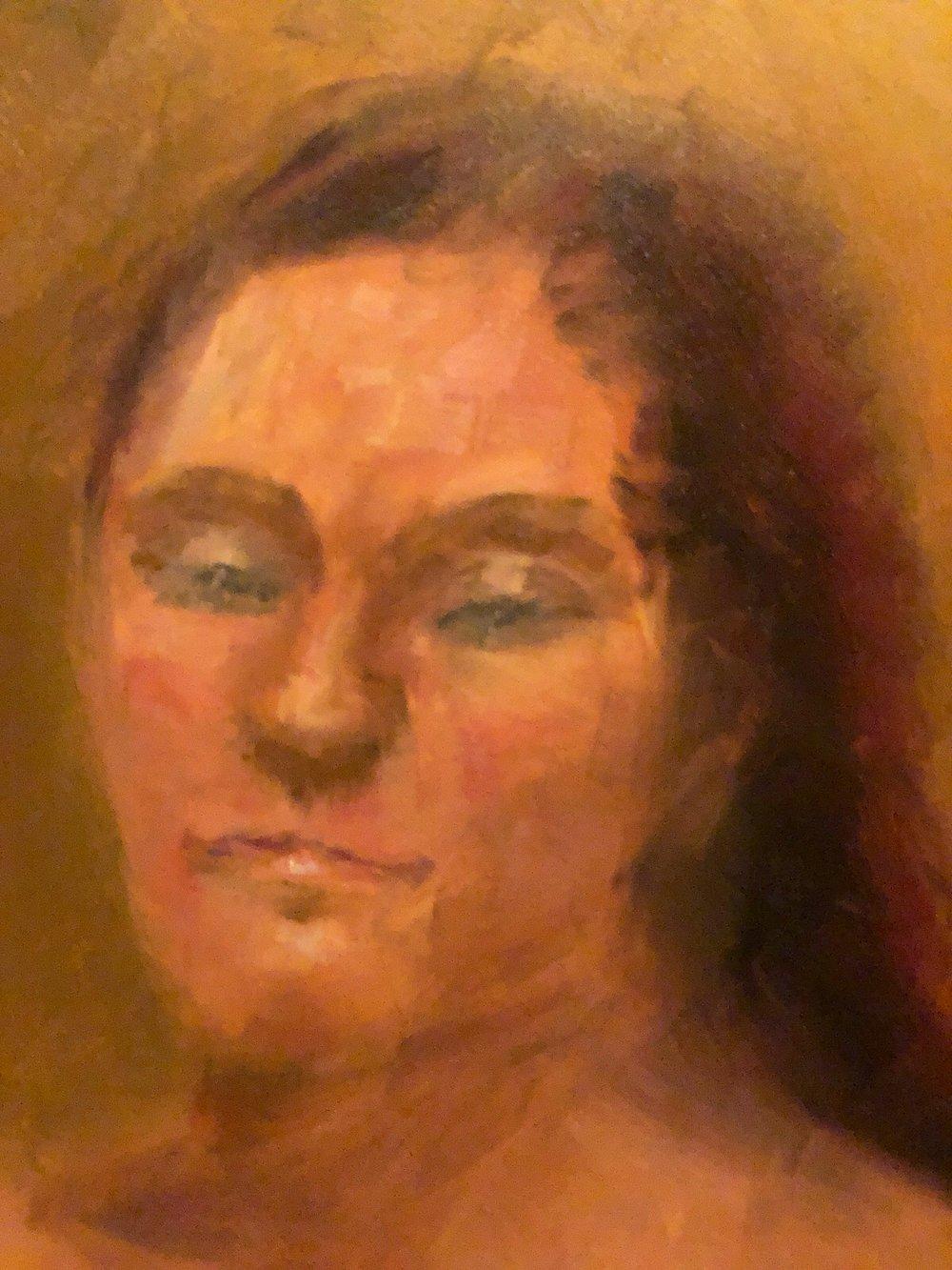 """Geoff Watson, """"Jolene,"""" oil on panel, 11"""" x 14,"""" 2019."""