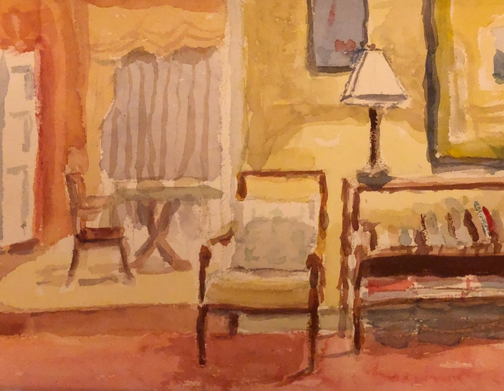 """Geoff Watson, """"Interior sketch,"""" watercolor on paper, about 8"""" x 10,"""" 2019."""