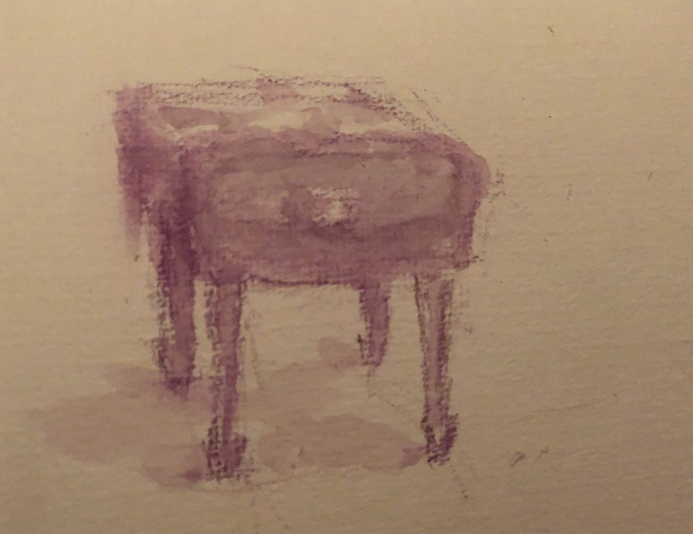 """Geoff Watson, """"Piano bench,"""" watercolor on paper, about 4"""" x 4,"""" 2019."""