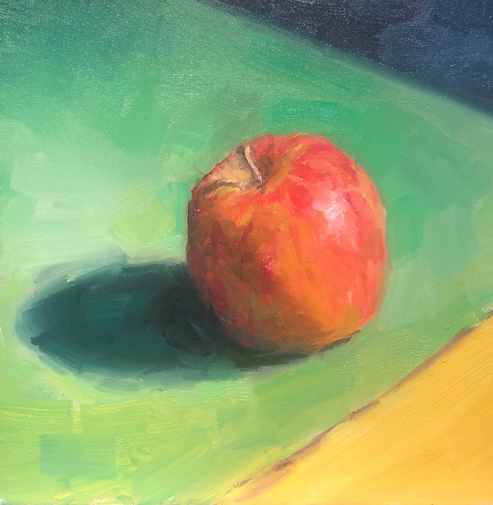 "Geoff Watson, ""Cadmium-free apple,"" oil on panel, 6"" x 6,"" 2019."