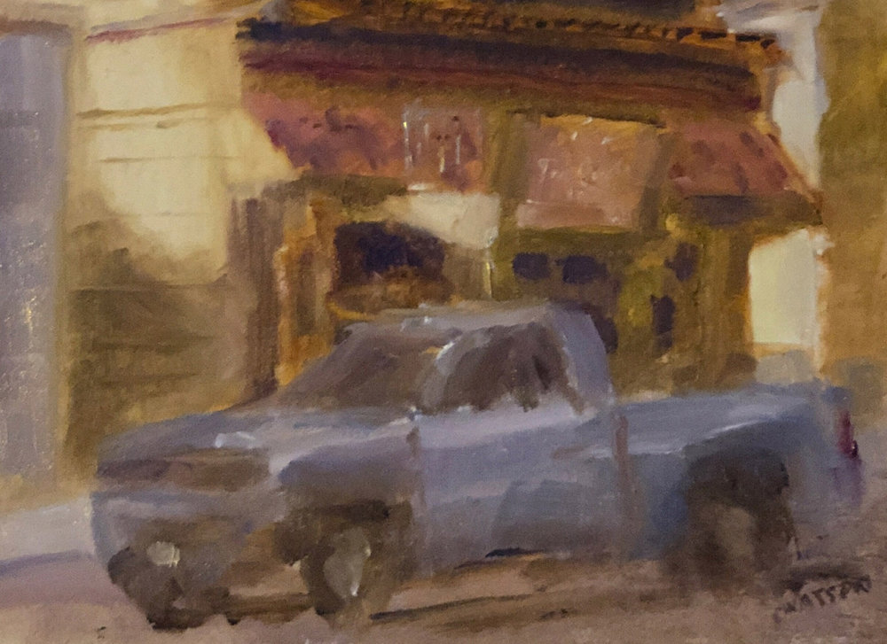 "Geoff Watson, ""Parked at Tia Queta (study),"" oil on panel, 8"" x 8"" (detail), 2019."