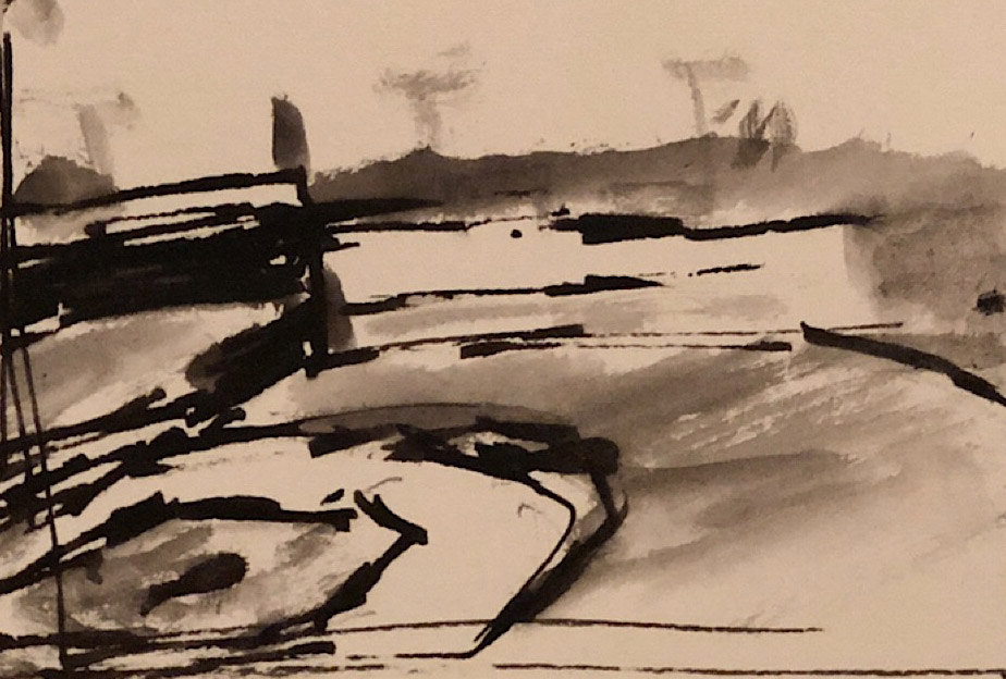 """Geoff Watson, """"Fenway Park (thumbnail sketch),"""" study, ink and wash on paper, about 2"""" x 3"""" (2019)."""
