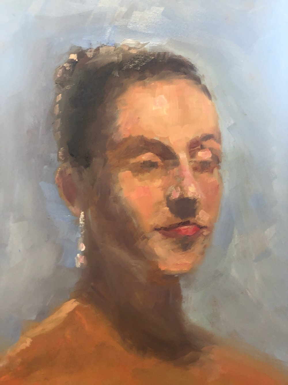 "Geoff Watson, ""Woman with a silver earring,"" oil on panel, 11"" x 14,"" 2019."