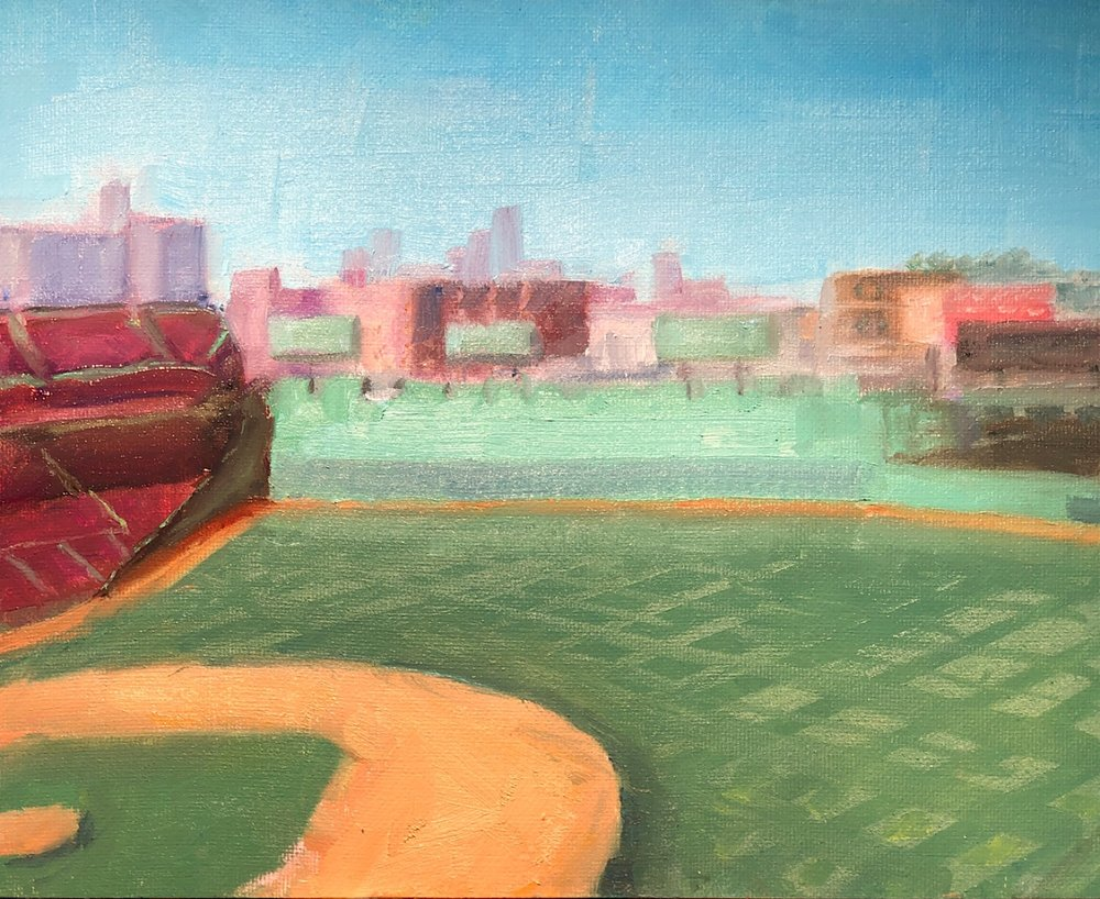"Geoff Watson, ""Fenway Park (in progress),"" oil on linen panel, 8"" x 10,"" 2019."