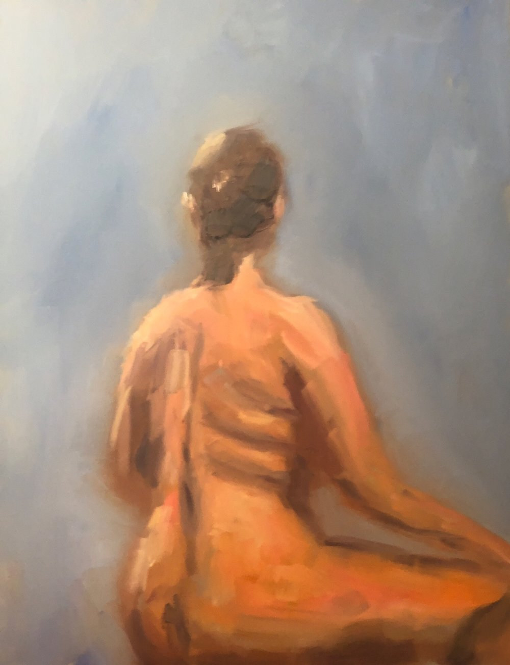 "Geoff Watson, ""Back study,"" oil on panel, 11"" x 14"" (2019)."