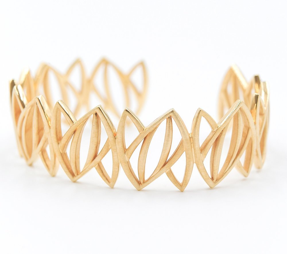 Gold Leaves Bracelet | 18K yellow gold plated, sterling silver