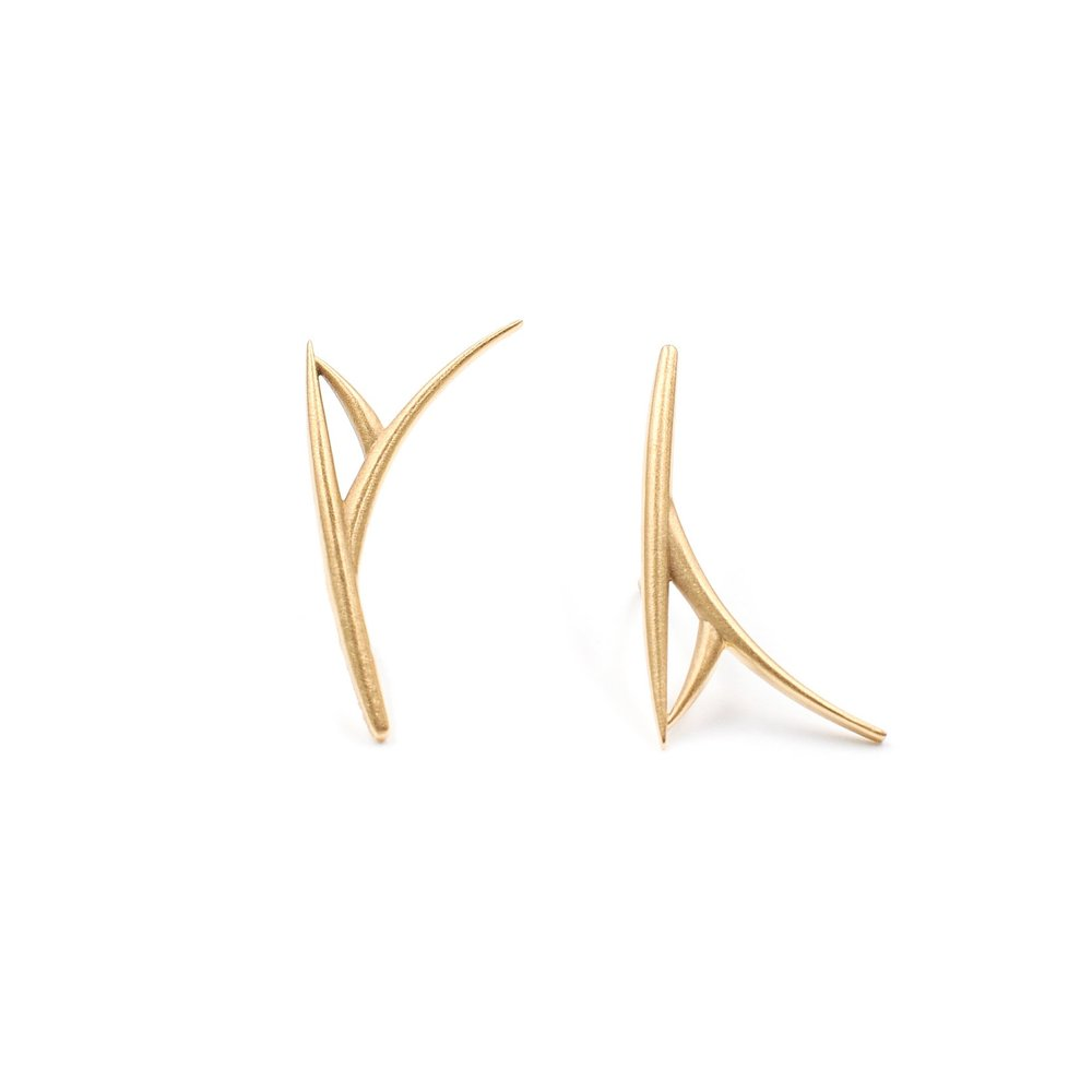One Leaf Earrings | 18K yellow gold