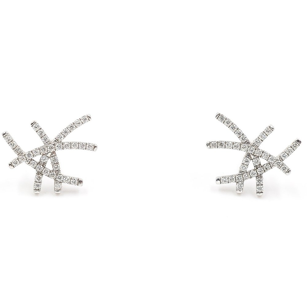 Diamond Lines Earrings | 18K White gold, diamonds