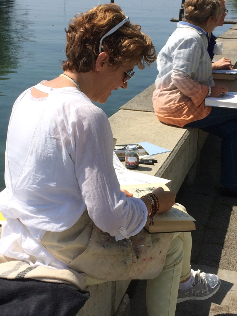 drawing next to lake geneva