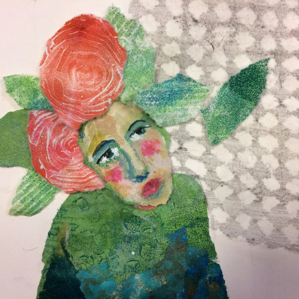 Gelliplate collage, women with flowers in her hair