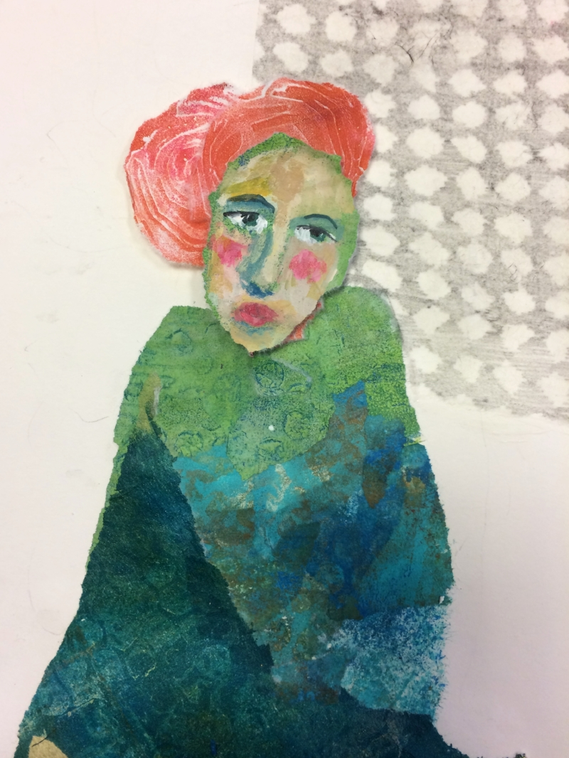 collage with gelli plate printed paper