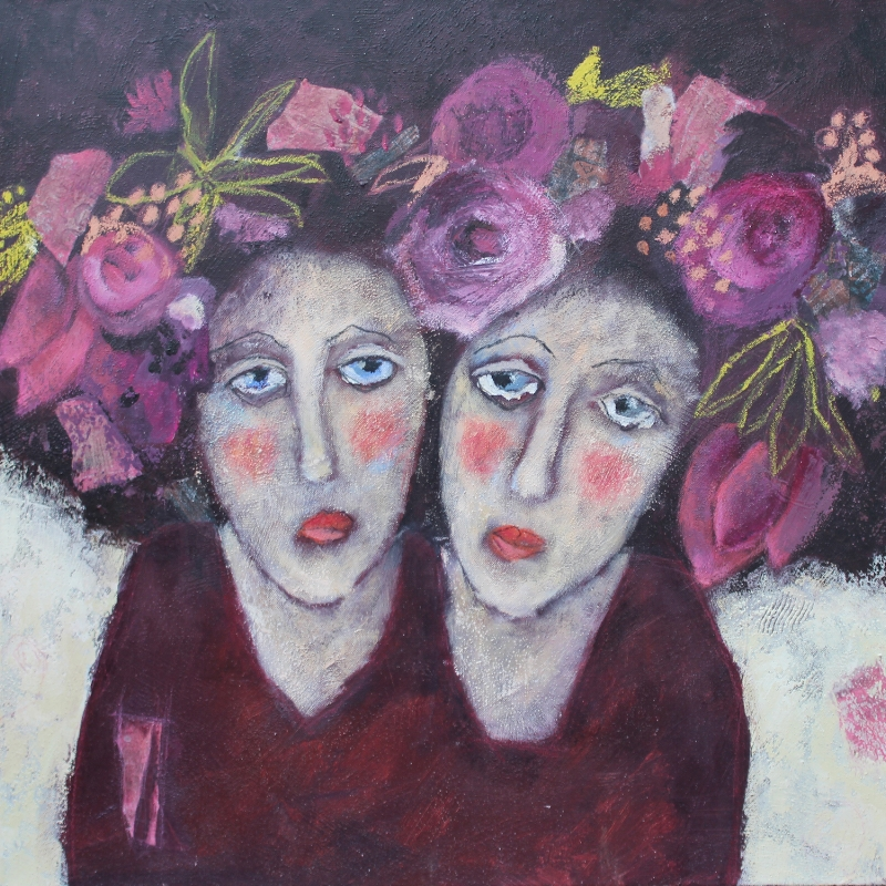 Girls with flower in her hair 60 x 60cm
