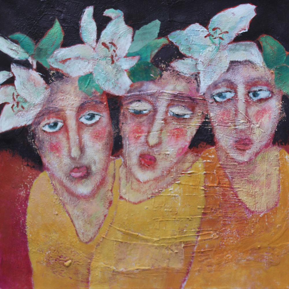Girl with flower in her hair 60 x 60cm