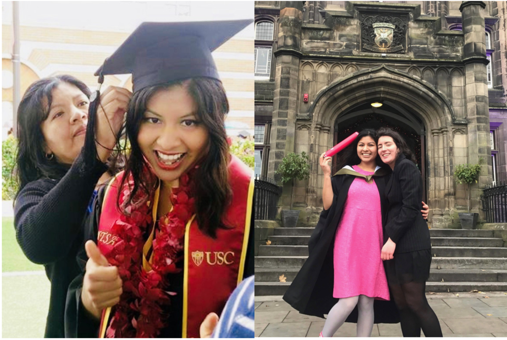 (Left:) Me with my mami at USC graduation. (Right:) Me with my queer fam at Edinburgh Uni graduation