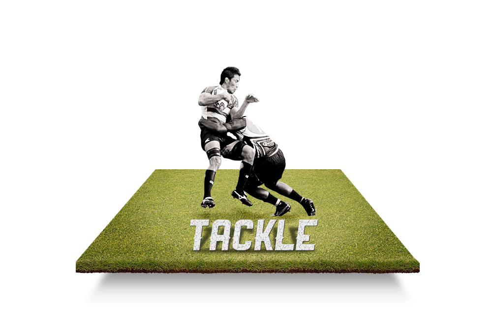 O jogador que está com a posse da bola, pode ser derrubado pelos adversários. O conhecido tackle, normalmente consiste em segurar as pernas do atletas para desequilibrá-lo.
