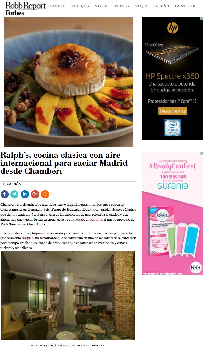 Restaurante Ralph's en Robb Report