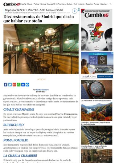 Restaurante Ralphs en Madrid