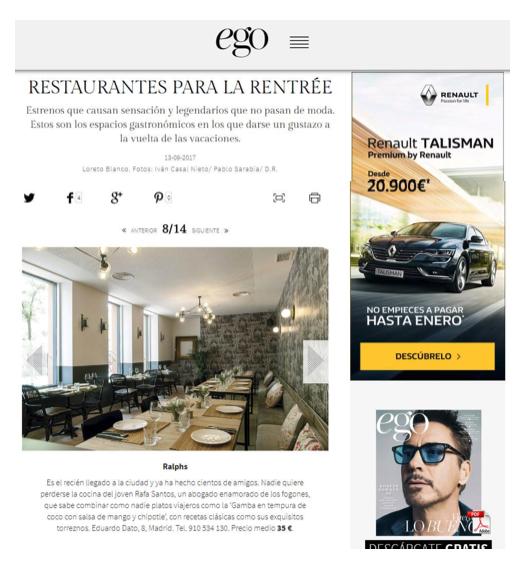 Restaurante Ralphs en revista Ego