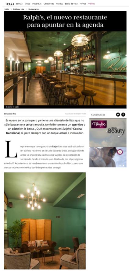Restaurante Ralph's en revista Telva