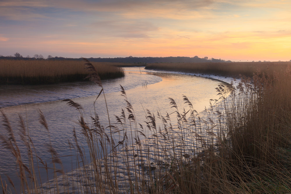 The sweeping curves of  the River Alde drifting through the reeds