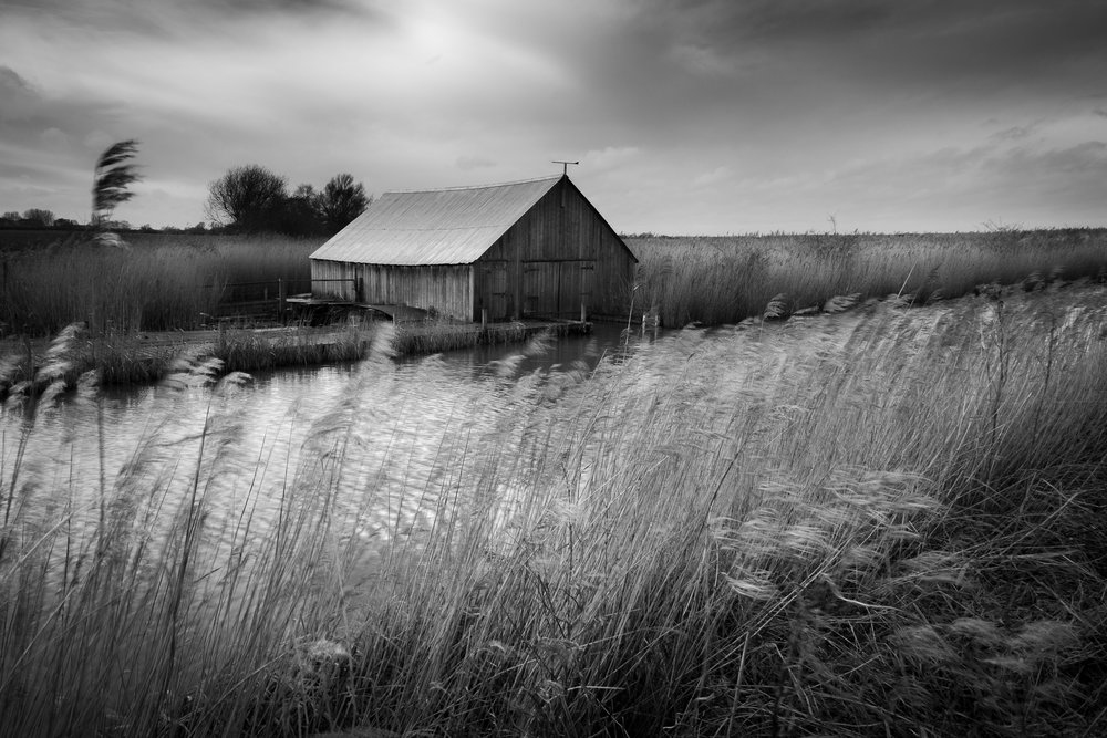 Boatshed in mono - West Somerton, Norfolk