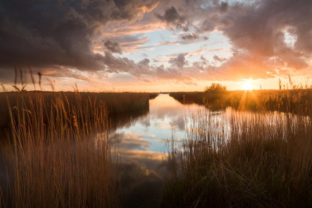 Sunset over Martham Broad - West Somerton, Norfolk