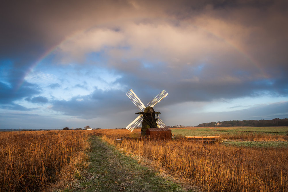 Rainbow over Herringfleet Windpump, Suffolk