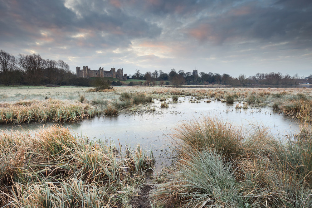 A frosty start at Framlingham castle, Suffolk