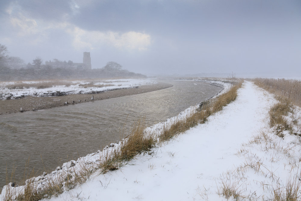 Blizzard at Blythburgh, Suffolk