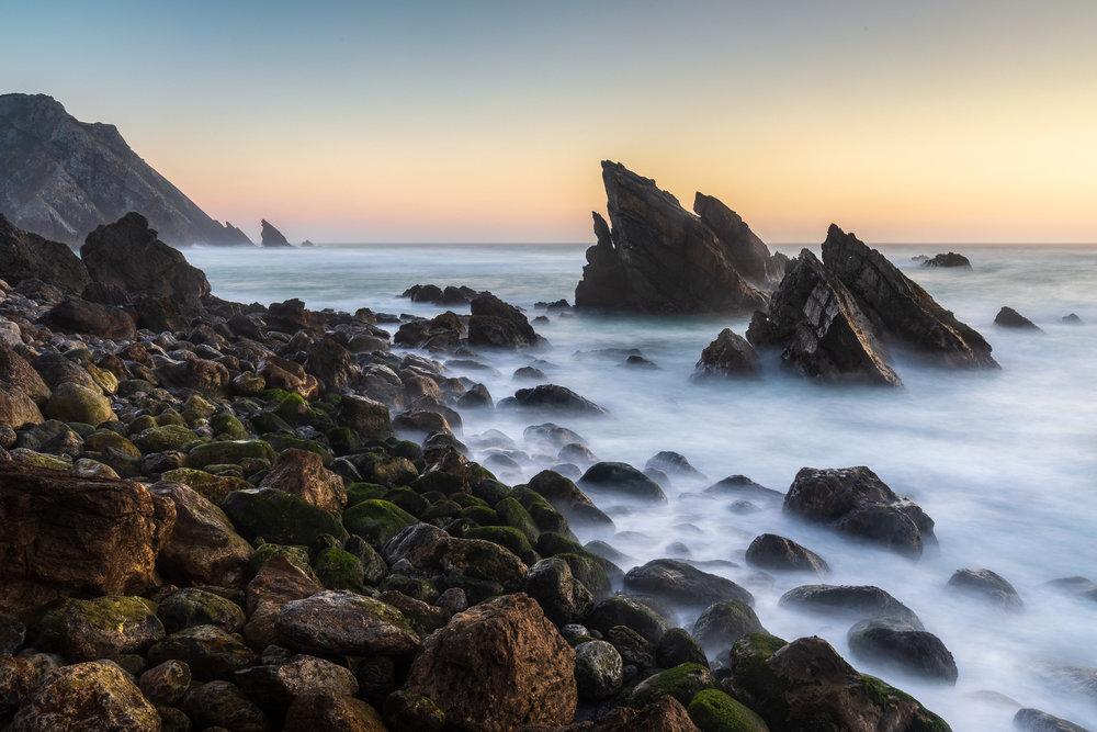 Last light on Praia da Adraga, Portugal