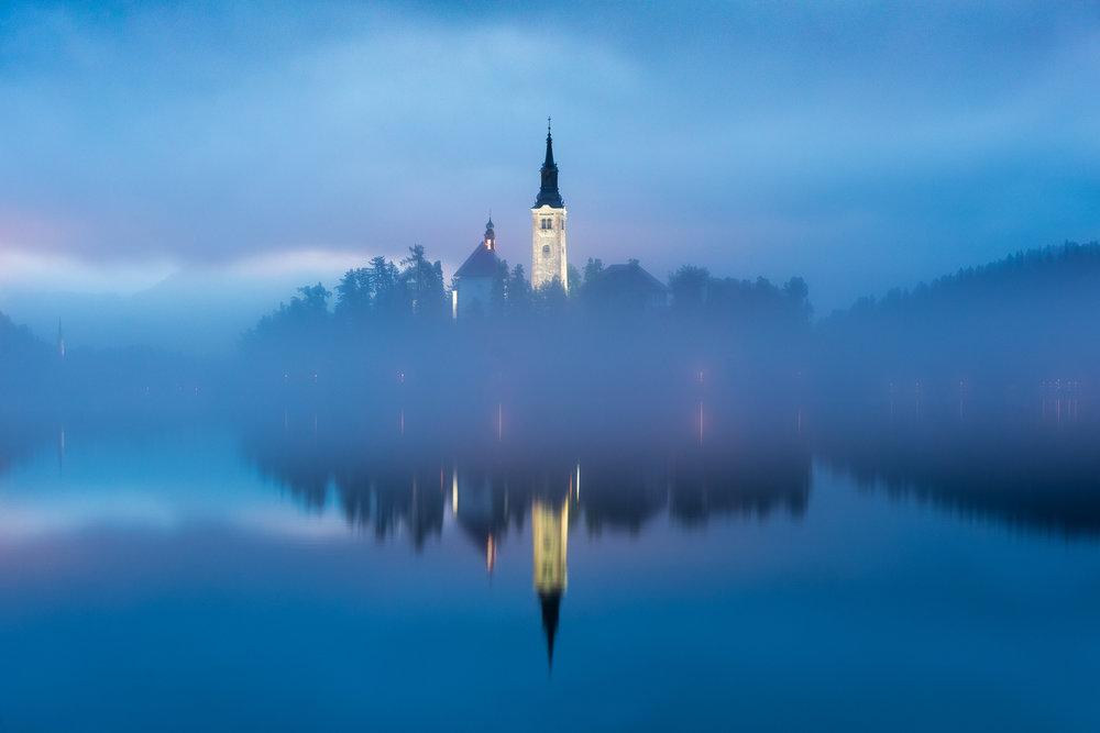 Blue hour at Lake Bled, Slovenia