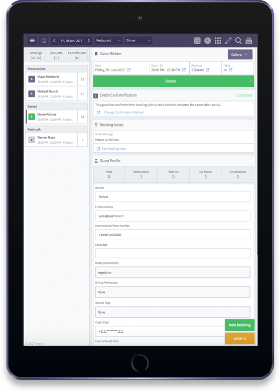 Operate multiple outlets with one system and from one device. Set up different access levels and roles for staff members.  Streamline and share the same guest book across multiple outlets -