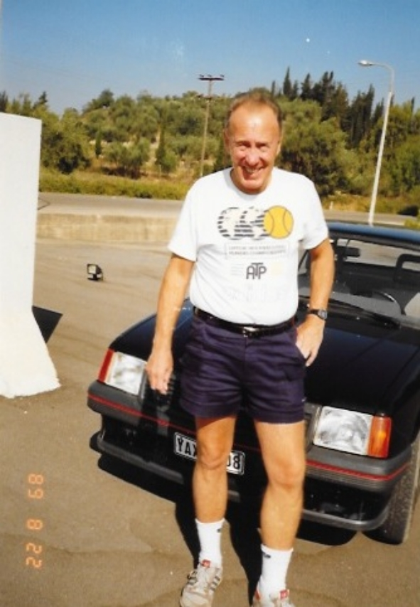 Dad in Greece wearing some unfortunate and disconcertingly tight shorts.