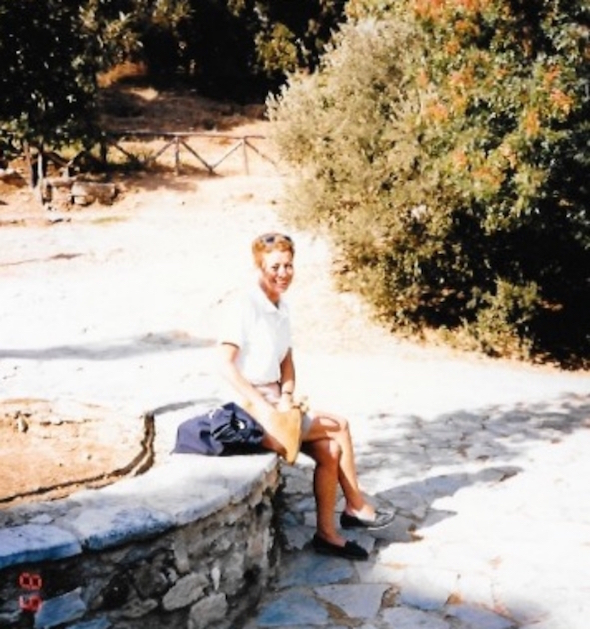 Mom in Greece.