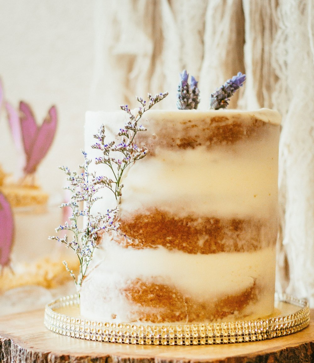 Semi-naked cake styled with fresh lavender.