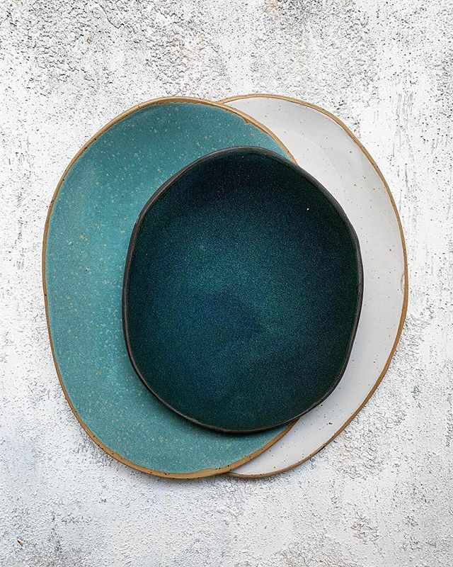 The colours, the shapes, everything.  Ceramics from @hanaakarimm - About the greens • • • #ceramics #plate #pottery #turquoise #blue #dinnerware #stoneware #makersgonnamake #modernceramics #contemporaryceramics #ceramicssatudio #maker #claylife #handmade #handthrown #ceramiclife #ceramicart #blue #clay #tableware #acolorstory #abmlifeiscolorful #dslooking #sweetdreamsdlf #huntgramcolor #colorventures #flatlay #objectdesign