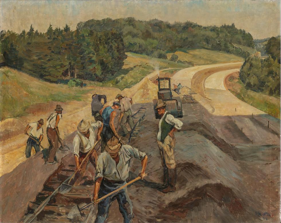 Peter Schöttle, Reichsautobahn, 1937, Öl auf Leinwand, 78,5 x 99 cm.Foto © Martin Weiand