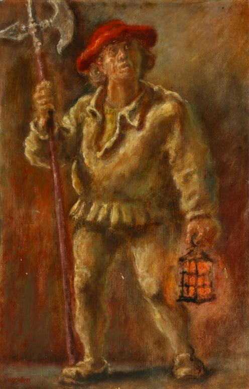 Leo von Welden, Nachtwächter, 1940, Öl auf Pappe, 48,5 x 32 cm.Foto © Martin Weiand