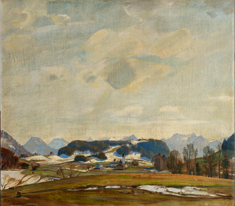 Oskar Martin-Amorbach, Landschaft (Rossholzen), 1939, Öl auf Leinwand, 52 x 59 cm.Foto © Martin Weiand