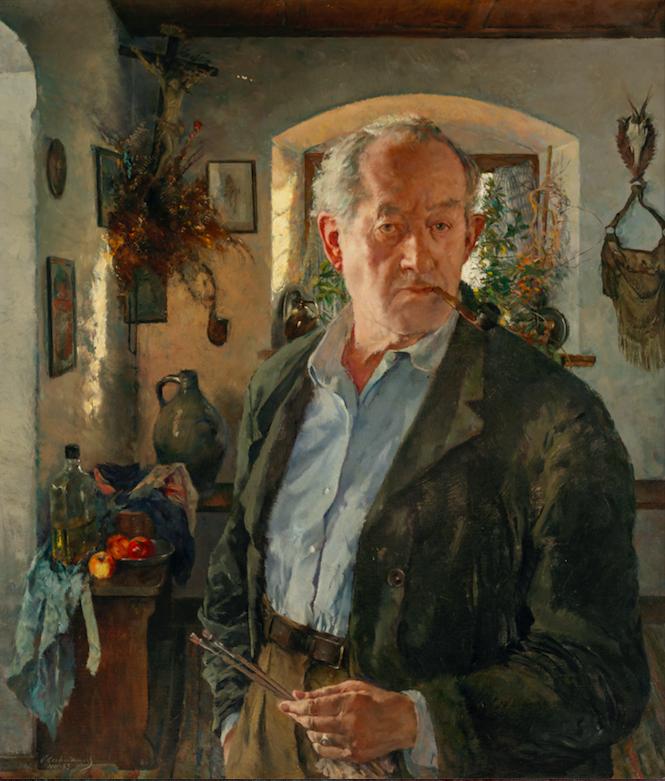 Constantin Gerhardinger, Selbstporträt in meinem Hergottswinkel, 1965, Öl auf Leinwand, 100 x 85 cm.Foto © Martin Weiand