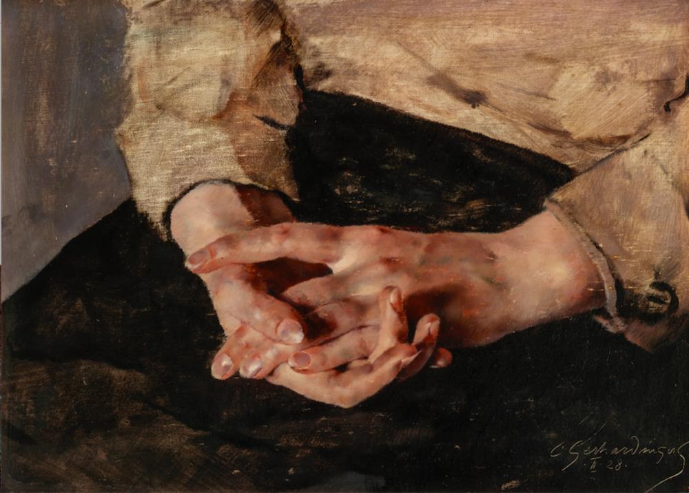 Constantin Gerhardinger, Hände, 1928, Öl auf Leinwand, 28,3 x 38,5 cm.Foto © Martin Weiand