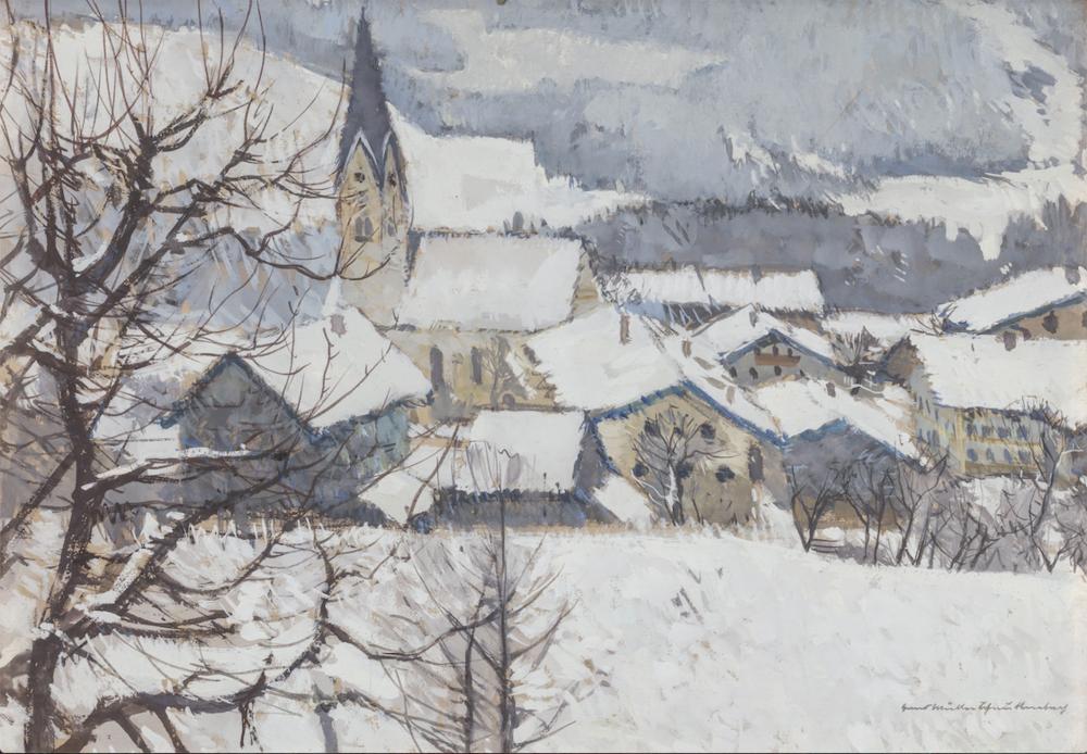 Hans Müller-Schnuttenbach, Winter in Törwang, 1943, Aquarell, 36,5 x 51,5 cm.Foto © Martin Weiand
