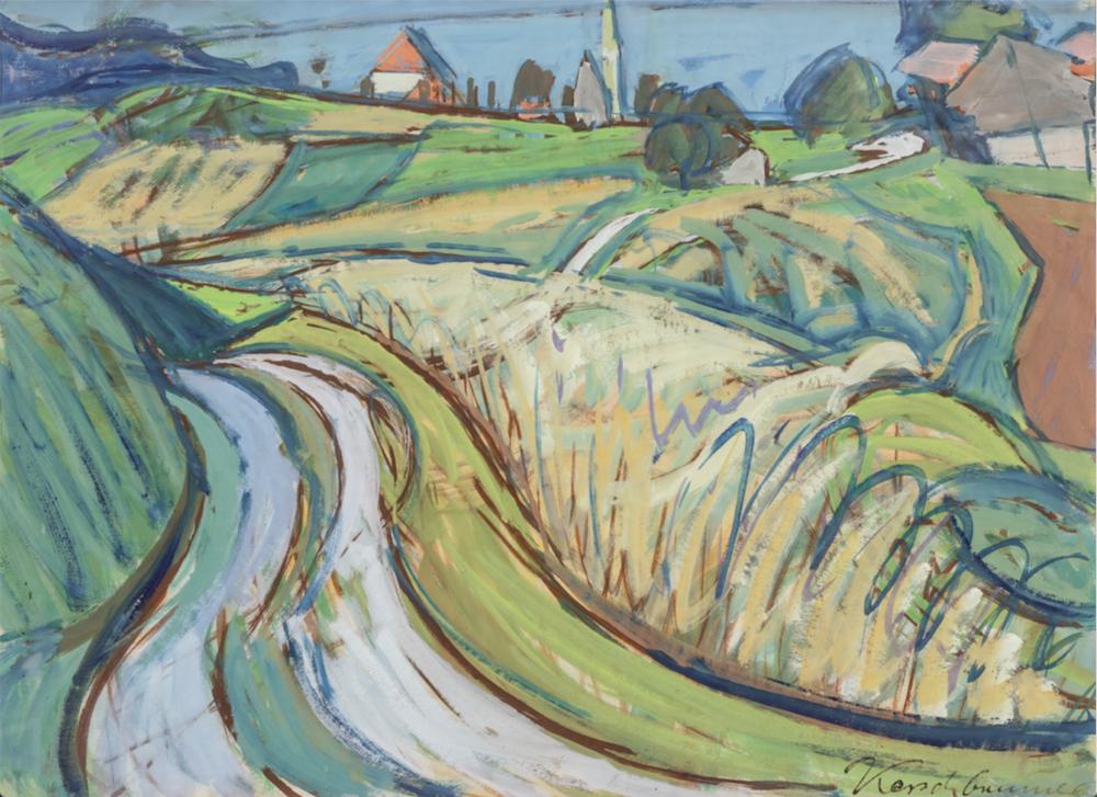 Anton Kerschbaumer, Bei Gstadt, 1922, Tempera, 57 x 77 cm.Foto © Martin Weiand