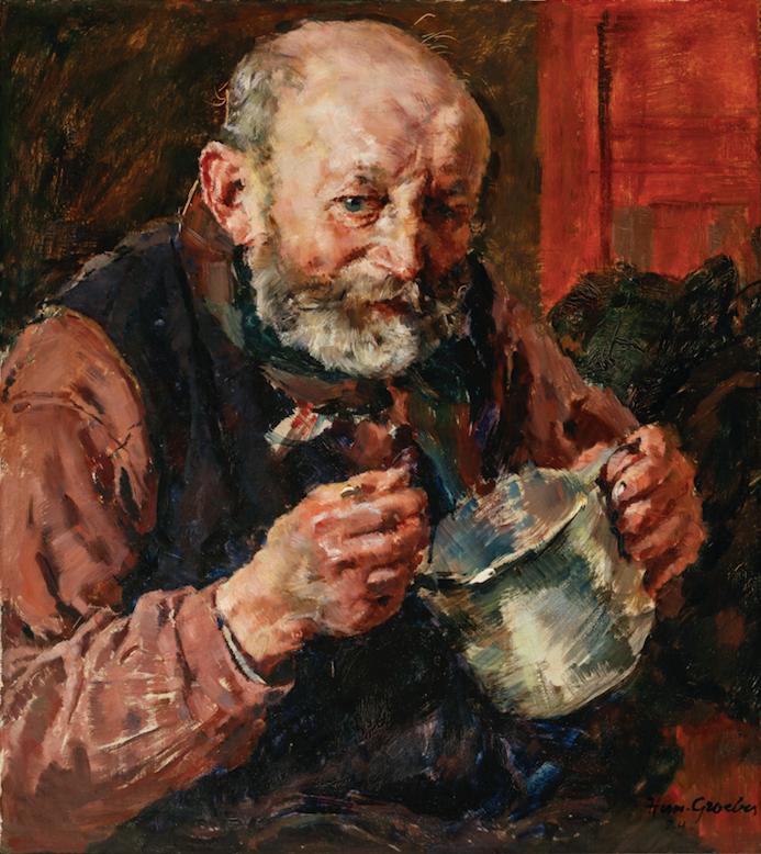 Hermann Gröber, Essender Bauer, 1931, Öl auf Holz, 59 x 53 cm.Foto © Martin Weiand