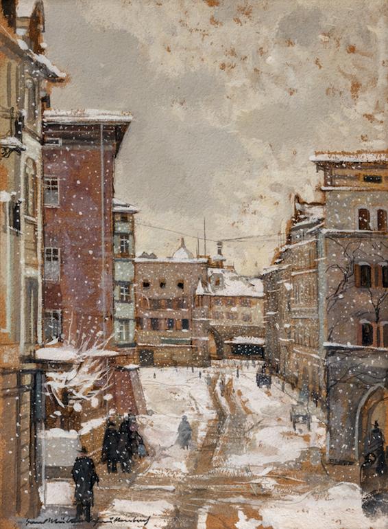 Hans Müller-Schnuttenbach, Max Josefs-Platz in Rosenheim im Winter, o.D., Aquarell, 36 x 27 cm.Foto © Martin Weiand
