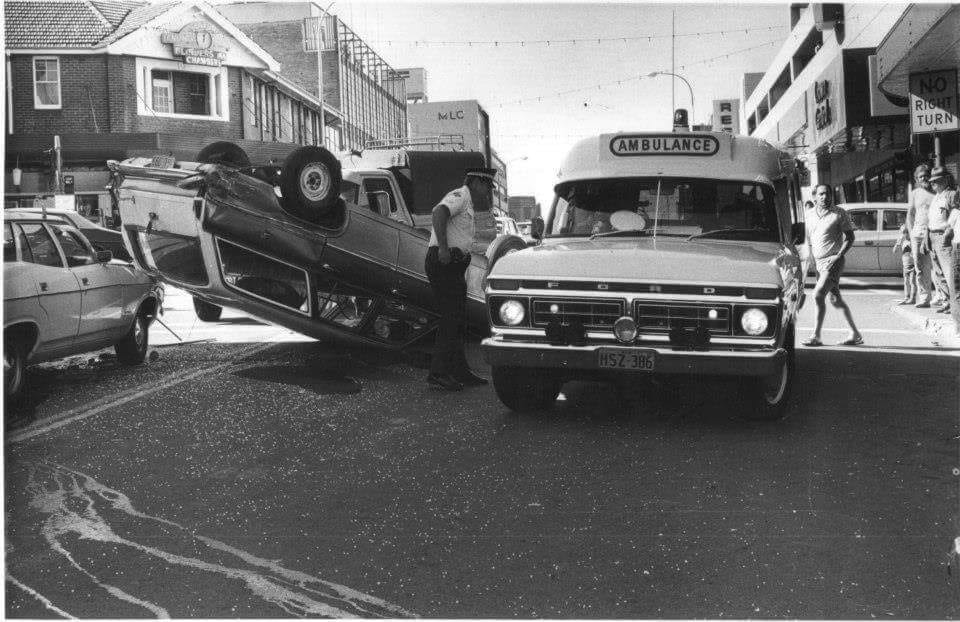 A crash on the corner of Crown and Keira street in the early 1970's - by Illawarra Mercury.