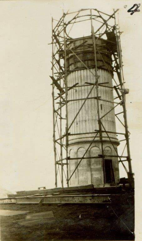 Wollongong's new Flagstaff Hill lighthouse under construction in 1936 - from Wollongong City Library.