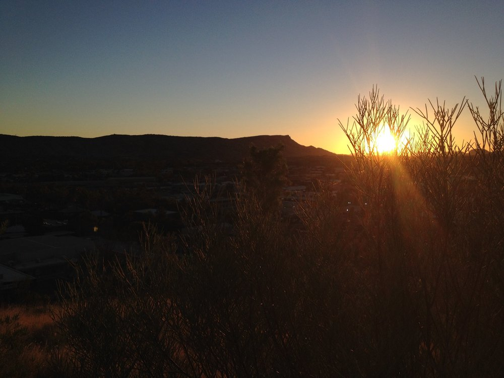 Sunset over Mt Gillen from Anzac Hill, Alice Springs.