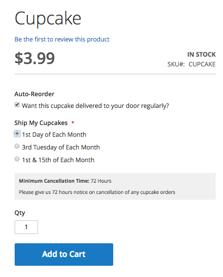 Subscriptions Module Product Front-end Menu