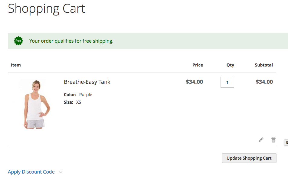 Free Shipping Applied to Cart